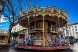 French old-fashioned style carousel with stairs at Place de l'Horloge in Avignon France