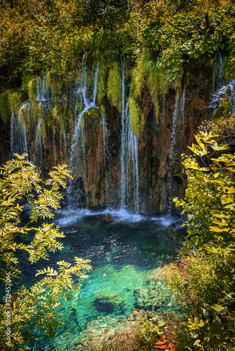 canvas print picture Waterfall at summer. National Park Plitvice Lakes.