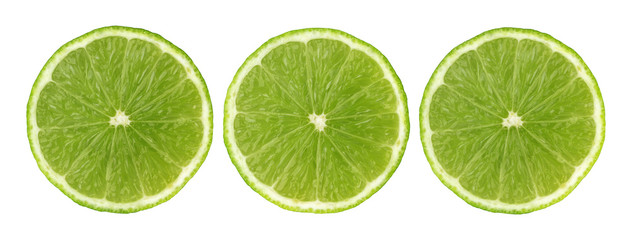 Lime slices isolated on white background with clipping path. Collection
