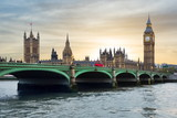 Houses of Parliament, Big Ben and Westminster bridge at sunset, London, United Kingdom - 212452415