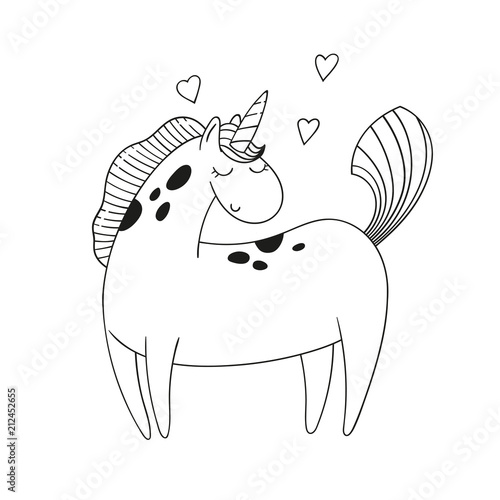 Cute cartoon pony unicorn isolated on white. Black and white vector illustration. Coloring page.