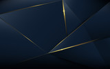 Abstract polygonal pattern luxury dark blue with gold - 212453048