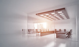 Office interior design in whire color and rays of light from window - 212453836
