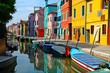 Canal with colorful buildings and houses in Burano island, Venice, Italy - Famous Architecture and landmarks