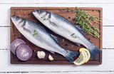 Raw sea bass fish