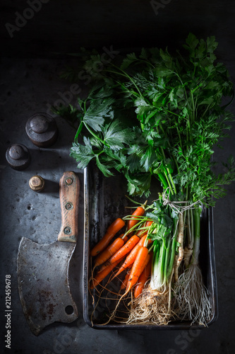Preparation for grilled homemade fresh vegetables in baking plate - 212459678
