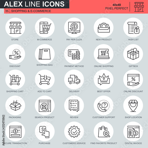 Thin line shopping and e-commerce icons set for website and mobile site and apps. Contains such Icons as Delivery, Payment, Store, Commerce. 48x48 Pixel Perfect. Editable Stroke. Vector illustration. - 212470862