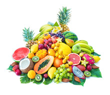 """Постер, картина, фотообои """"Assortment of tropical fruits with palm leaves and exotic flowers"""""""