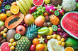 Leinwanddruck Bild - Assortment of colorful ripe tropical fruits. Top view