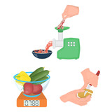 Cooking food cartoon icons in set collection for design. Kitchen, equipment and tools vector symbol stock web illustration. - 212482235