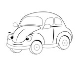 Colorless  funny cartoon car. Vector illustration. Coloring page