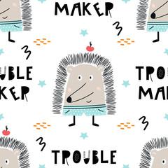 Trouble maker - Cute hand drawn nursery seamless pattern with cool hedgehog animal and hand drawn lettering. © Oksana Stepova