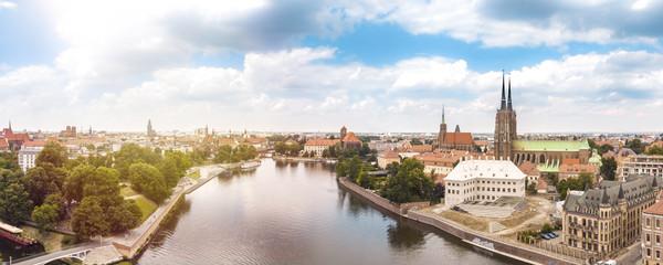 Poland. Wroclaw. Ostrow Tumski, park, and Odra River. Aerial 4K video. © maciej