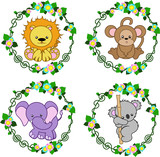 4 animals that are in the flower frame, vector