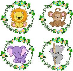 4 animals that are in the flower frame, vector © Оксана Курносова