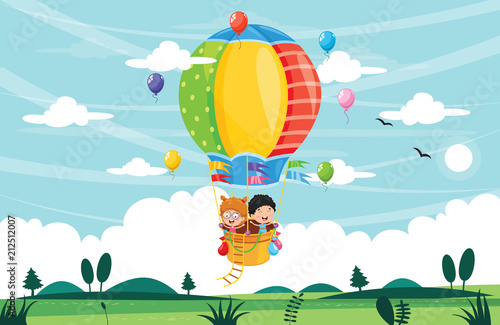Fototapeta Vector Illustration Of Kids Riding Hot Air Balloon