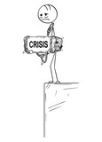Cartoon stick drawing conceptual illustration of sad and depressed man or businessman standing on edge of precipice or chasm and holding big stone with crisis text tied to his neck. - 212514077