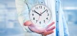 Man holding a clock timer 3d rendering - 212515458