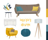 vector mid century modern furniture. home house interior design. 1960s 1950s style.  - 212520697