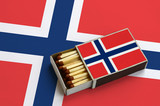 Norway flag  is shown in an open matchbox, which is filled with matches and lies on a large flag - 212520864