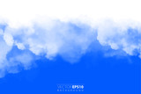 Vector illustration of light clouds in blue sky. Abstract backdrop with realistic cloud motif. - 212524618