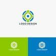 Circle technology logo design vector.