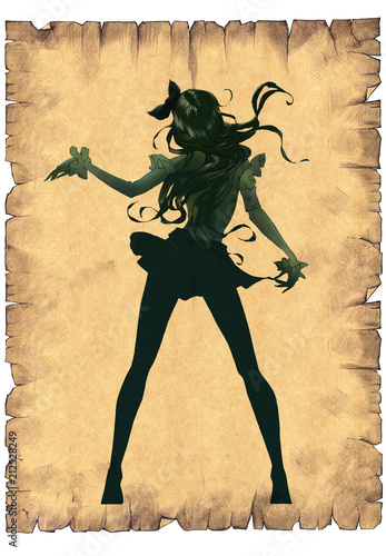 Cartoon anime illustration of a beautiful slim woman with long hair dancing  - 212528249
