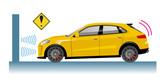 自動車のイラスト 自動ブレーキの概念イラスト 衝突回避イメージ RV車 - 212530072