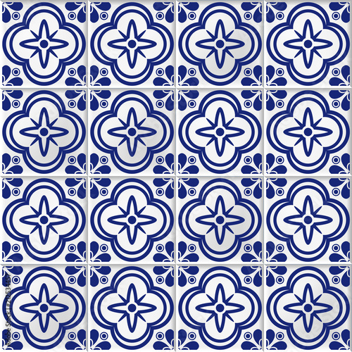 vector seamless background with oriental mosaic tiles - 212534457