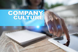 Company culture text on virtual screen. Business, technology and internet concept.? - 212537685