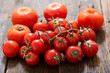 fresh tomatoes on wooden table - 212539472