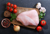 fresh turkey meat with ingredients for cooking - 212539449