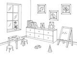 Preschool classroom graphic black white interior sketch illustration vector - 212539473