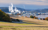 Norwegian landscape with pulp mill factory - 212539897
