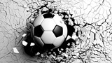 Soccer ball breaking forcibly through a white wall. 3d illustration. - 212540053