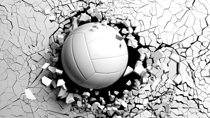 Volleyball ball breaking forcibly through a white wall. 3d illustration. © viperagp