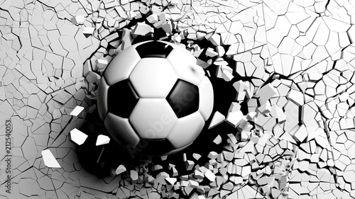 Soccer ball breaking forcibly through a white wall. 3d illustration.