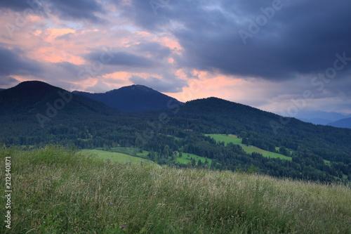 Aluminium Lente Abendstimmung in den bayerischen Alpen