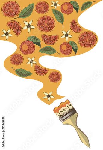 Pomarańcze malowane pędzlem na białym tle. Owoc.