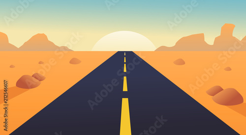 Fototapeta road with desert landscape, mountains and sunshine