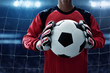 Leinwanddruck Bild - Soccer goalkeeper holding soccer ball