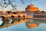 Fortress of Sant'Angelo and its reflection in river Tevere, Rome.