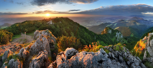 Landcape of mountain at sunset panorama from peak Velky Choc, Slovakia