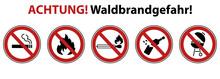 Waldbrandgefahr  Warnhinweis Verbotsschilder Sticker