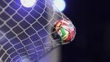 Soccer ball flying to goal - 212555814