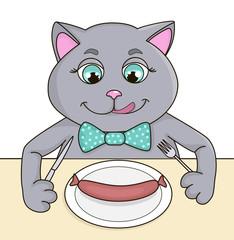 Grey joyful cat is going to eat sausage © Alina