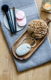 fresh makeup, natural sponge with zen candle for beauty massage - 212562208
