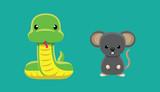 Snake Rat Doll Set Cartoon Vector Illustration - 212563209