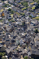 aerial of village Bremm at the Moselle river