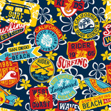 BasCalifornia kids surfing rider stickers patchwork with hibiscus background vector seamless patternic CMYK - 212564048